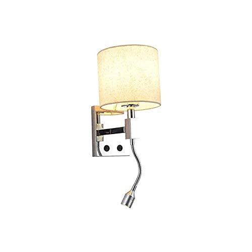 ZZYJYALG Lámpara de pared del hotel 2 en 1 con el brazo de lectura ajustable cama leyendo la lámpara LED con interruptor de cortina de la tela, E27, la pared Lámpara de pared Iluminación de hot Dormit