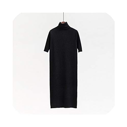 Coming Long Half Turn Down Collar Knitted Pullovers Solid Primer Shirt Knitted Dress Sweater,Black,M