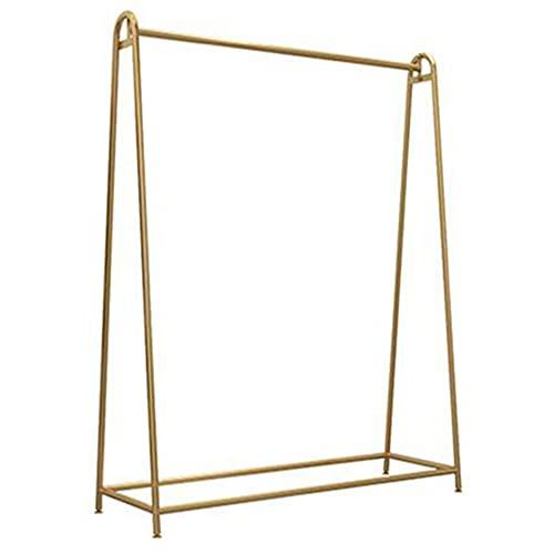 Expositor para ropa, barra de ropa pesada, percha nano dorada, fuerte carga de 50 a 60 kg, se utiliza en el armario familiar, sala de diseño de ropa, tienda de moda, dorada / 100 × 160 C.