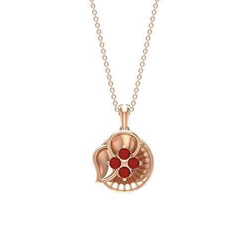 Rosec Jewels 10 quilates oro rosa redonda Red Ónice rojo