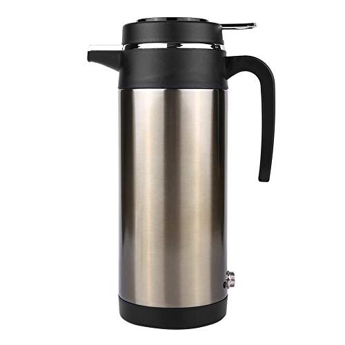 Solomi Hervidor de Viaje Coche Hervidor eléctrico - Coche eléctrico Pot, Botella de Acero Inoxidable de calefacción eléctrica hervidor de Agua 1200ML (Plata + Negro) (tamaño : 12V)