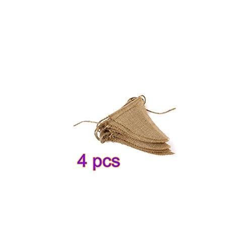CAOLATOR Jute Bruant Bannière Fanion Drapeau Guirlandes Triangle Flags pour la Fête de Mariage Décorations d'Anniversaire (4 Pcs)
