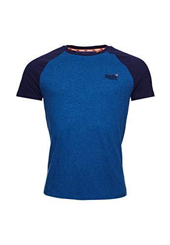 Superdry Herren Kurzarm-Baseball-T-Shirt aus der Orange Label Kollektion Rich Blue Marl L