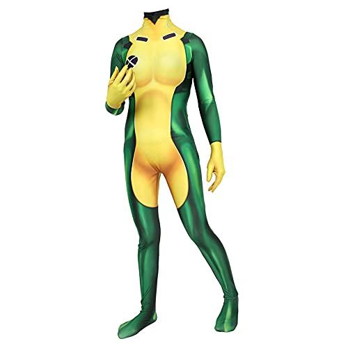 FLJLGY X'men Cosplay Mono Superhéroe Traje de Disfraces Halloween Niños Navidad Leotardo de una Pieza Vestido de Lujo para Adultos Medias conjuntas Disfraz Ropa,Green-Kids S 115~125cm