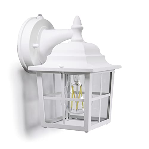 CORAMDEO French Pane Outdoor Dusk to Dawn Porch Light, for Porch, Patio, Deck and More, E26 Standard Socket, Suitable for Wet Location, White Powder Coat Cast Aluminum with Clear Glass