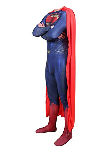 Nios Adultos The Man of Steel Movie Fans Apparel Mono de superhroe para disfraces, disfraz de anime de cosplay de Superman, juego de rol de Halloween, medias conjuntas, traje de batalla,B-Men XXXL