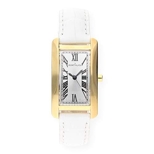 Ratius Damen Uhr 22.3104G.25W vergoldet Leder weiß