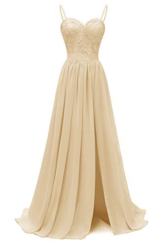 yinyyinhs V-Ausschnitt A-Linie Geraffte Chiffon Brautjungfernkleider Lang Schlitz Formal Abschlussballkleid Champagner Größe 32