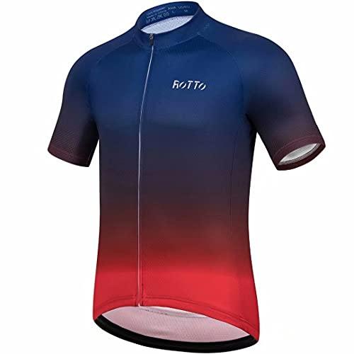 ROTTO Maglia Ciclismo Uomo Magliette Bici MTB Maniche Corte Abbigliamento per Biciclette da Strada con Tasca