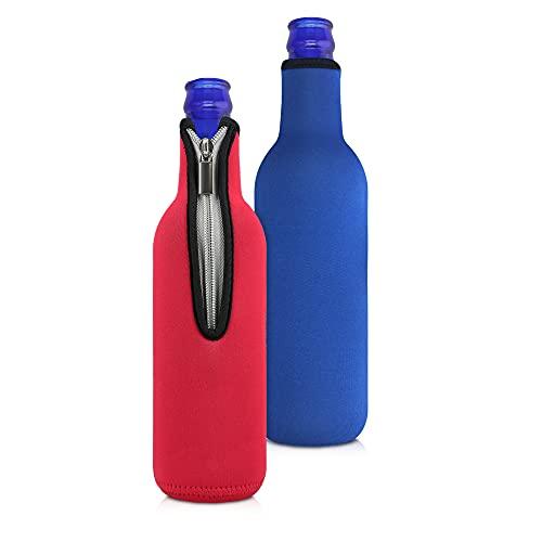kwmobile Set de 2 fundas enfriadoras de botellas - Para Botella de 330-500ml - Mantén tu botella fría - En rojo/azul