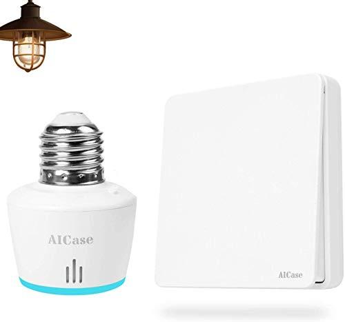 AICase Portalámpara WiFi Inteligente con E27 Interruptores Inteligentes de pared/Interruptor Inalámbrico,Funciona con Alexa y Google Assistant,con control remoto y de voz,Ajuste del Temporizador
