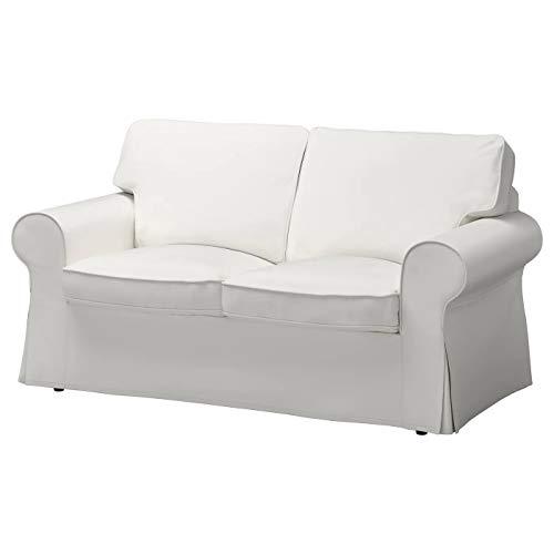 Funda para sofá cama Ektorp de dos plazas (algodón resistente y duradero) de repuesto, hecha a medida para sofá cama IKEA Ektorp de 2 plazas (blanco) (blanco más denso)
