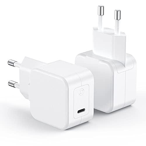 SPLAKS PD Power Delivery 3.0 - Cargador USB C (2 unidades, 20 W, para iPhone 12/12 Mini/12 Pro/12 Pro Max, Galaxy, Pixel 4/3, iPad Pro, AirPods Pro, Magsafe Duo)