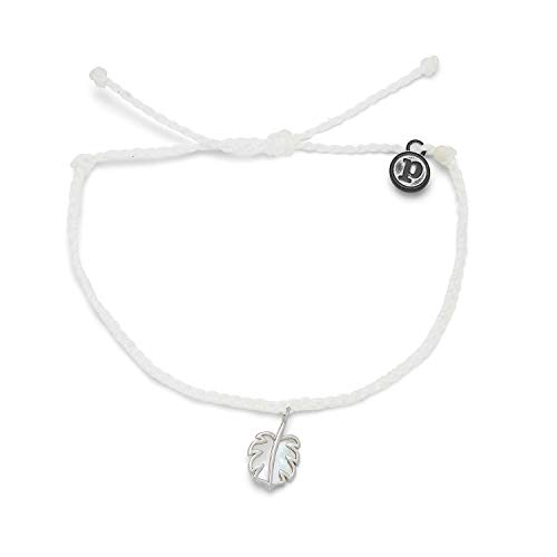 Pura Vida Silver Mother of Pearl Monstera Bracelet - 100% Waterproof, Adjustable Band - White