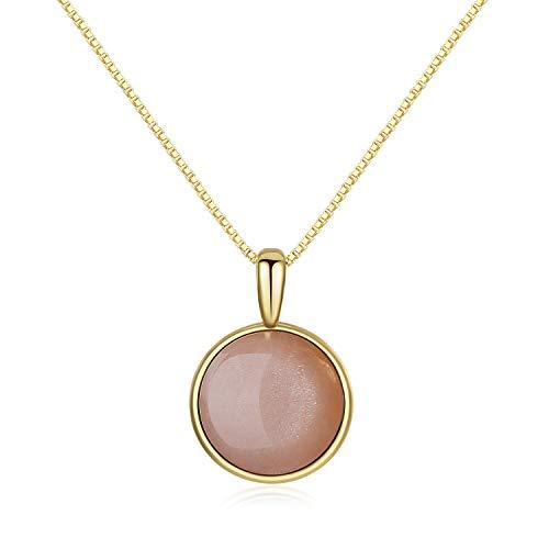 COAI Collar para Mujer de Plata 925 con Colgante Redondo en Piedra del Sol