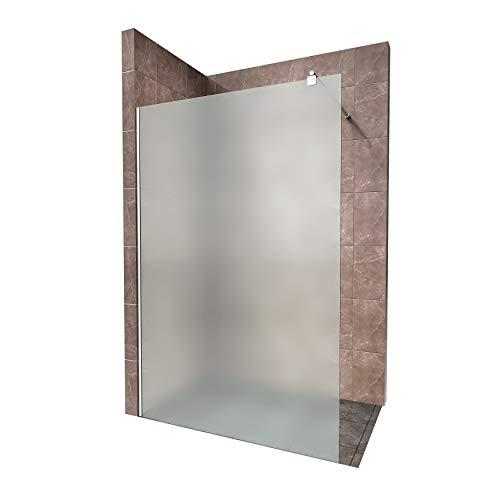 Duschabtrennung Duschwand Walk In Dusche 10mm STARK aus SATINIERTEM ESG Sicherheitsglas mit Edelstahl Wandprofilen #740 (110 x 200cm, Satiniertes Glas)