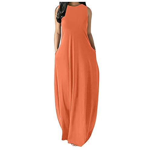 Zieglen Women Casual Summer Sleeveeless Sexy Plus Size Loose Plain Long Maxi Dress with Pockets Beach Sundress Orange