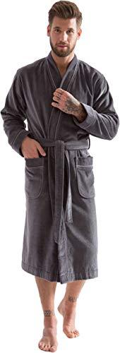 Morgenstern Kimono Bademantel für Herren in Grau Gr L Badekimono Duschbademantel Saunabademantel Männerduschmantel Cotton einfarbig lässig Lou
