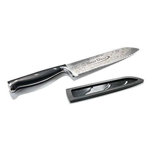 Genius Nicer Dicer Knife Professional Chefmesser 20cm - extra scharfes Profi Messer aus rostfreiem Edelstahl mit Wellenschliff & Schutzhülle | Universal einsetzbar in der Küche