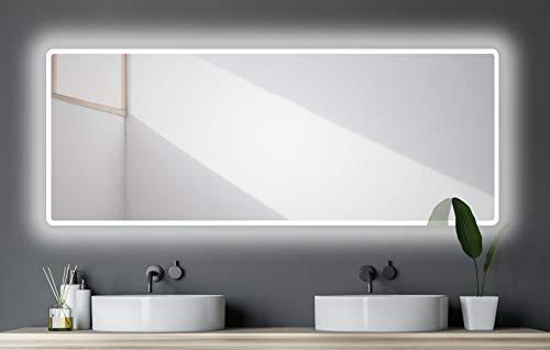 Badspiegel mit Beleuchtung Talos Moon - Badezimmerspiegel 180 x 70 cm - mit umlaufenden Raumlicht - Lichtfarbe neutralweiß - hochwertiger Aluminiumrahmen