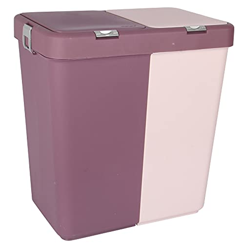 80L Dual Compartment Kitchen Rubbish Bin. Waste Recycling And Laundry Basket. (2 x 40 L) (Prune)