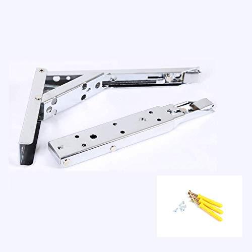 DX Claiery opvouwbare plankhouder van stevig K-roestvrij staal, voor werkbank, ruimtebesparende zelfmontagehouder, set van 2