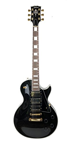 TOKAI UL CUSTOM ELECTRIC GUITAR BLACK & GOLD MAHOGANY BODY, TOP & NECK