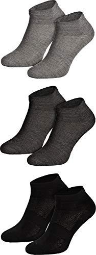 Piarini 3 Paar Merino Socken Herren Damen - Sneakersocken aus Merinowolle - Atmungsaktive Sportsocken Laufsocken Mix-Dunkel 43 44 45 46