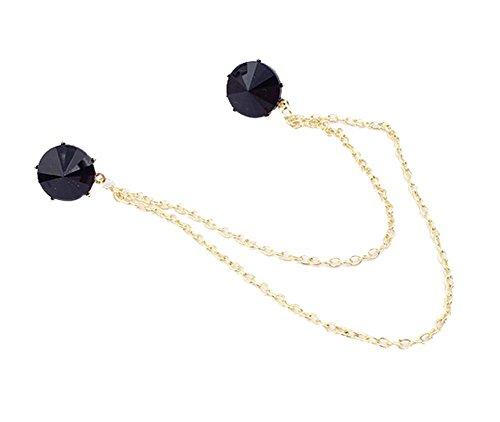 Angle Chemise à col Col Pin chaîne Collier Broche Décoration, noir