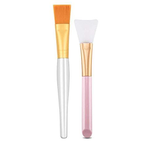 2PCS Visage Masque Brosse Bricolage Masque Facial Silicone Applicateur Brosse Sans Poils Et Doux D'Or Soies Masque Facial Brosse