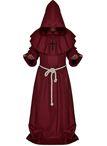 Friar Medieval Hooded Monk Renaissance Priest Robe Costume Cosplay Red