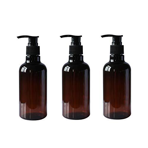 3 Botellas Recargables de plástico de 250ml Color marrón ámbar con Bomba Negra vacía envases de artículos de tocador para champú acondicionador de Pelo Gel de Ducha dispensadores de lociones