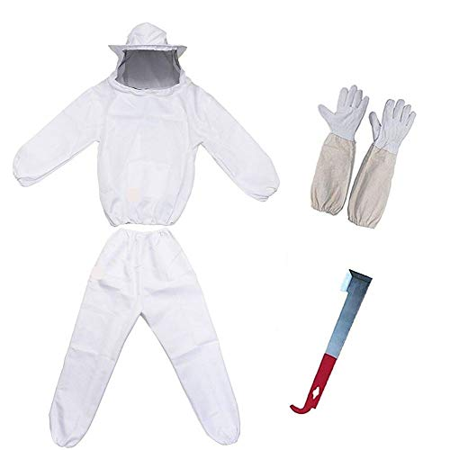 POLLIBEE Bee Suit for Men with Glove and Bee Hive Tool,Beekeeping Smock Protective Suit,Complete Professional Bee Suit Beekeeper Coveralls Jacket and Pants