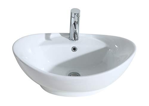 Eridanus Serie Lottie, Lavabo di Ceramica Bianco Lusso Lavandino Lavello Lavamano Lavabo da Appoggio Tondo Ovale Bacinella Lavandino Lavello per Bagno Casa Bidet Lavabo
