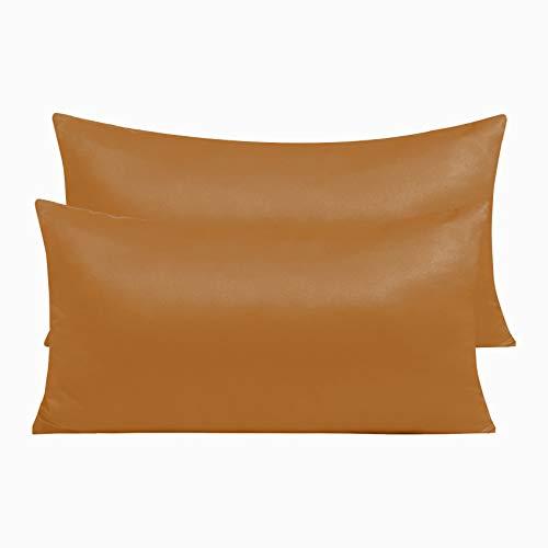 Pack 2 Fundas de Almohada de Microfibra con Cremallera Funda Almohada Transpirable Suave Antiarrugas ( Naranja, 45x70 cm)