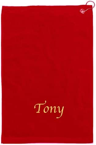 Golf Towels with Corner Gold Grommet Hook Personalized Embroidered Monogrammed Premium Velour product image