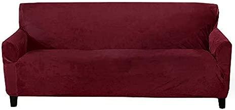 Velvet Plush Stretch Sofa Slipcover. Velvet Sofa Couch Furniture Protector, Soft Anti-Slip, High Stretch for 3 Seat Sofa. (Sofa- 3 Seater, Zinfandel Red)