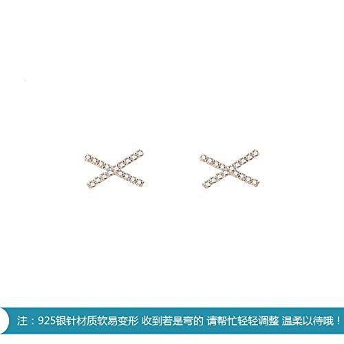 Chwewxi Korean Drama Schauspielerin Ohrringe Pendler Wilde X Kreuz Geometrie Ohrringe Mode zarte Diamantohrringe E797, EIN Paar Silberne Nadeln
