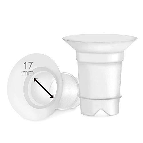 Maymom - Punte flangiate da 17 mm per e Medela, 24 mm, per l\'uso con Medela, Freestyle, Harmony e Sonata per ridurre il canale del capezzolo da 24 mm a 17 mm, 2 pezzi