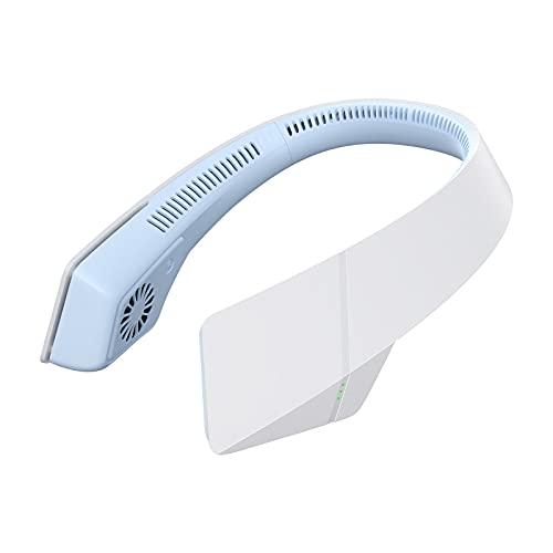 首掛け扇風機 羽なし 携帯扇風機 3段階風量 ポータブル ミニレイジー ハンギング ネックリーフレス USB サイレント 充電タイプ ( 青)