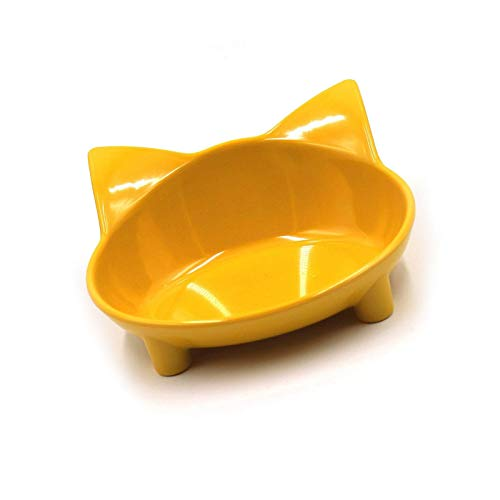 Cat Color Melamine Bowl Light Food Wide Plate Non Sliding Feeding Durable Yellow