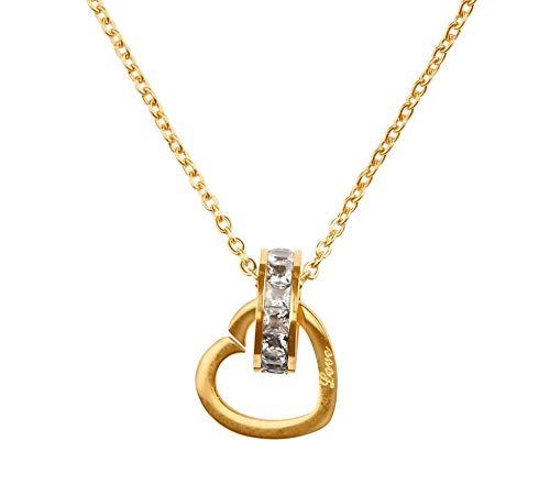 Goldkette Damen Herzkette. Hochwertige Damen Kette mit 18 Karat Goldplattierung. Kettenlänge 40+5cm (extra). Designed in Deutschland
