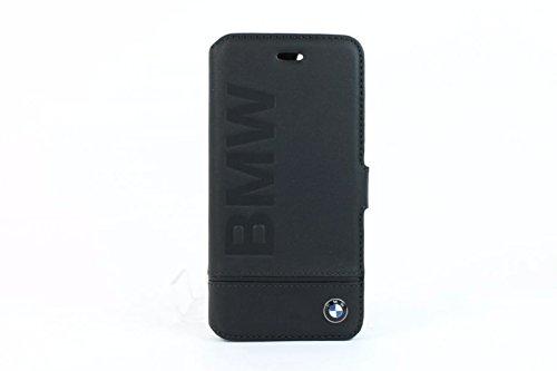 BMW BMFLBKP7LLSB Signature Booktype Echtleder Schutzhülle für Apple iPhone 7, Logo Aufdruck schwarz