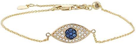 Olivia Paris 14K Yellow Gold Blue Sapphire Diamond Adjustable Evil Eye Bracelet 1 10 cttw H product image