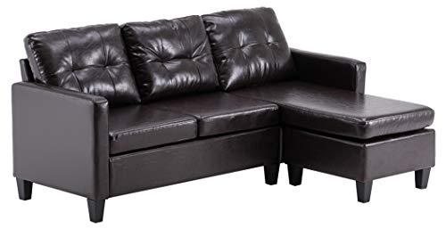 Moderno sofá seccional convertible en forma de L con combinación de poliuretano, color marrón oscuro para sala de estar