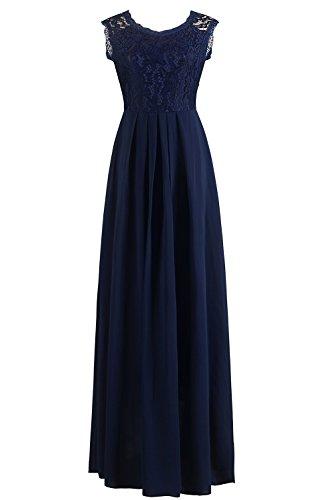 Babyonlinedress Abendkleider Lang Elegant für Hochzeit, Damen Ärmellos Spitzenkleid Brautjungfer Partykleid Festliches Kleid, M, Blau