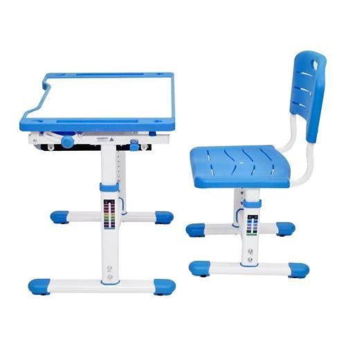 Escritorio para niños, conjunto de escritorio, ajustable en altura, bandeja reclinable ajustable, ergonómico, adaptado a los niños para aprender y dibujar, cajones de almacenamiento y ganchos,Azul