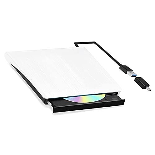 SIVOM DVDドライブ 外付け USB 3.0 Type C DVDプレイヤー PC外付 CDポータブル DVD±RW プレイヤー 超スリム Windows/Mac OS/XP/Vista対応 携帯型外付cd 高速24X 静音 軽量 (ホワイト)
