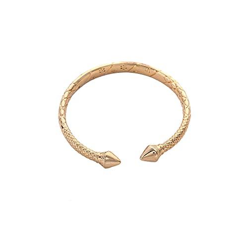 YITIANTIAN Brazalete de Metal de Cobre de latón de Lujo de Color Dorado, Pulseras de Moda para Mujer, joyería