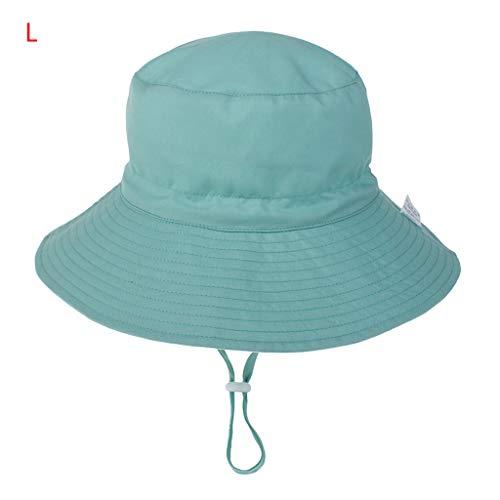YOYOHO Sombrero Ajustable para el Sol para bebés Sombrero de Playa de Verano para niños pequeños Sombrero de Cubo de ala Ancha - L # Azul